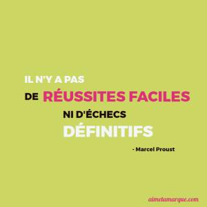 Il n'y a pas de réussites faciles, ni d'échecs définitifs - Marcel Proust